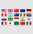 g20 flag icon china korea brazil mexico usa japan vector image vector image