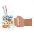 glass of detox water vector image vector image