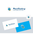 globe logotype with business card template vector image vector image