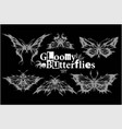 gloomy butterflies - set - moth dead head vector image