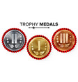 gold silver bronze place badge medal set vector image vector image
