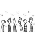 hand drawn applause hand gesture on doodle vector image