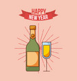 happy new year champagne glass bottle festive vector image
