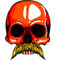 human skull with moustache vector image
