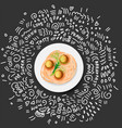 icon pasta in plate vector image