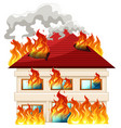 isolated house on fire vector image vector image