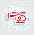 medical helicopter button on handdrawn healthcare vector image