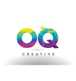 oq o q colorful letter origami triangles design vector image vector image