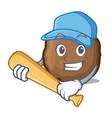 playing baseball meatball character cartoon style vector image