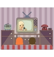 Retro show People watch TV in vector image