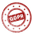 scratched textured gdpr round stamp seal vector image