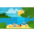 Seascape with Man Using Smartphone vector image vector image