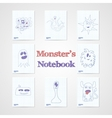 Set of eight notebook sheets with funny monsters vector image vector image