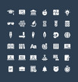 solid icons set with education online vector image