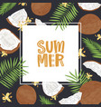 square banner template with summer word surrounded vector image