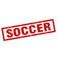 square grunge red soccer stamp vector image vector image
