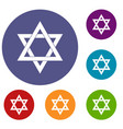 star of david icons set vector image vector image