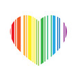striped heart in rainbow spectrum colors love or vector image vector image