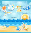 summer seascape with hanging elements vector image