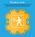 Tennis player icon Floral flat design on a blue vector image vector image