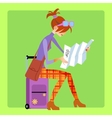 Tourist sitting on the suitcase and looks map vector image vector image