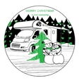winter camper with family snowman vector image vector image