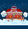 winter city in snowfall people passing by house vector image