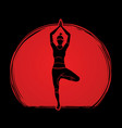 woman practicing yoga yoga action vector image
