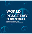 word peace day poster with peace symbol vector image vector image