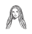 Young woman sketch Hair and face vector image