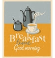 breakfast tea cup and teapot vector image