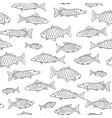 fish seamless pattern in doodle style hand drawn vector image
