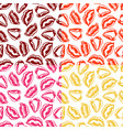 set of seamless patterns with colorful lips vector image