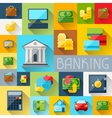 Background with banking icons in flat design style vector image vector image