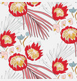 big red flowers with orchid and leaves pattern vector image