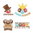 billiard or pool club poolroom labels vector image vector image