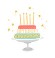 birthday greeting card with cake and stars vector image vector image