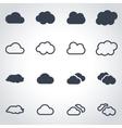 black cloud icon set vector image vector image