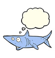 cartoon happy shark with thought bubble vector image vector image