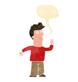 cartoon man giving peace sign with speech bubble vector image vector image