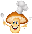 cartoon mushroom chef vector image