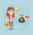 caucasian businesswoman exchanging idea for money vector image vector image