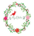 christmas card with wreath bird vector image vector image