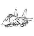 classic fighter jet aircraft cartoon vector image