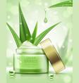 cosmetic ads template cream jar with aloe vera vector image vector image