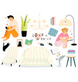 cozy and quiet home room objects isolated clipart vector image vector image