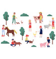 farmers taking care of animals on farm farming vector image