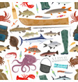fisherman sport and fishing fish pattern vector image vector image