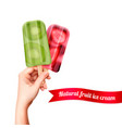 fruit popsicles advertising background vector image