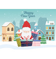 happy new year 2020 celebration cute santa gifts vector image